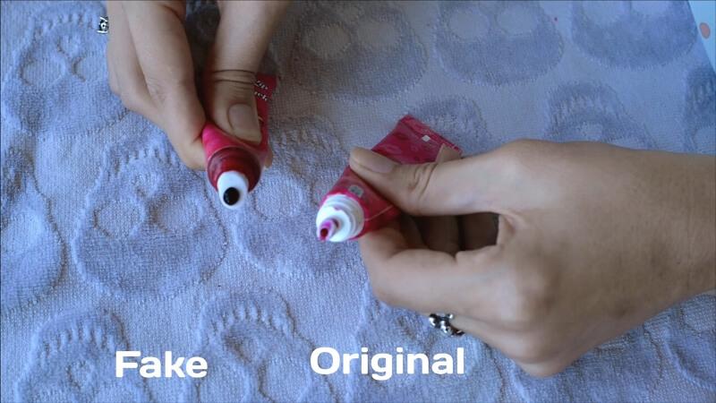 Цветовые отличия оригинала от фейка тинта Berrisom в оттенке Bubble Pink