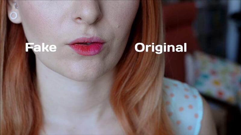 Фактический цвет на губах после нанесения оригинального ифейкового тинта от Berrisom в оттенке Buuble Pink