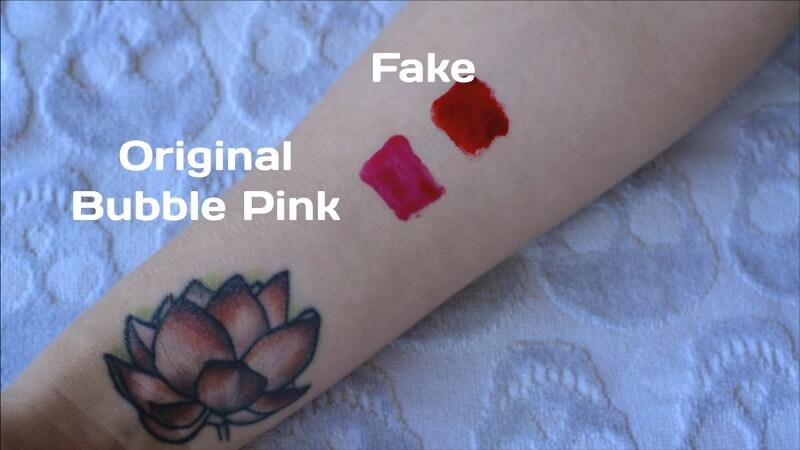 Первичное нанесение оригинального и фейкового тинта от Berrisom в оттенке Bubble Pink