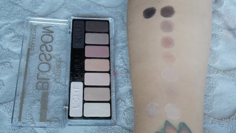 Цветовая палитра теней CATRICE collection eyeshadow palette (The nude 010 blossom N Roses)